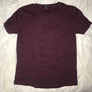 burgundy short sleeved